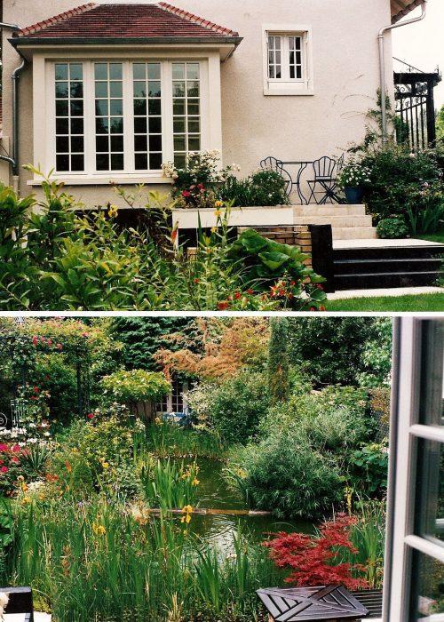 Jardin vert vue fenêtre