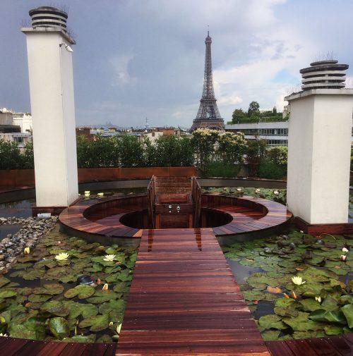 Terrasse eau face à la tour Eiffel